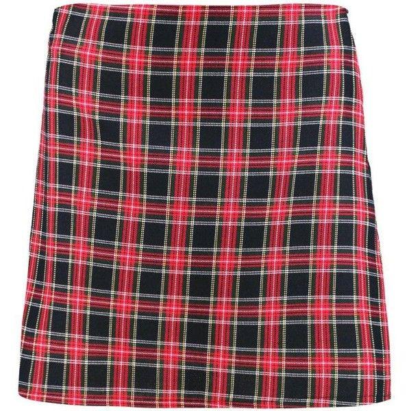 Boohoo Lua Tartan Check Woven A Line Mini Skirt | Boohoo (£16) ❤ liked on Polyvore featuring skirts, mini skirts, tartan miniskirts, tartan mini skirt, plaid skirt, short plaid mini skirt and red tartan skirt