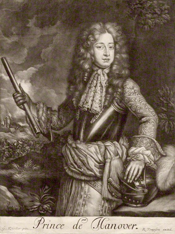 George in 1680, when he was Prince of Hanover. After a painting by Sir Godfrey Kneller.