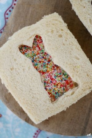 To Make: Spread Sprinkles on peanut butter and jelly on one slice of bread, then top with bread with a cut-out design using a cookie cutter.