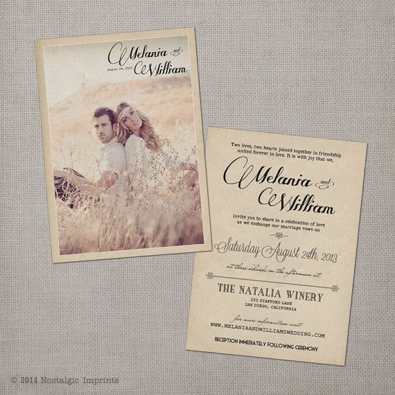 Invite your friends and family to celebrate with you on your wedding day with this 5x7 vintage wedding invitation. All invitations come with square corners as the standard. Round cut corners can be added as an upgrade.  Worried about not having photos with a vintage look to them? Dont be! Send us your image as they are and we will edit them to have this vintage look! You can use any photos that you want!   ** Minimum order = 10 invitations **   OPTIONAL ADD-ONS: . . . . . . . . . . . . ....