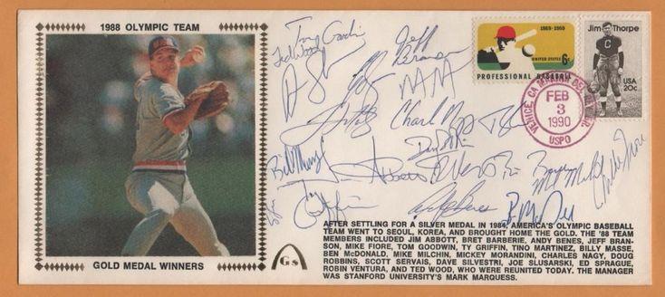 1988 Olympic Baseball BLEM Gold Medal Reunion Signed Gateway Stamp Envelope #USAOlympics