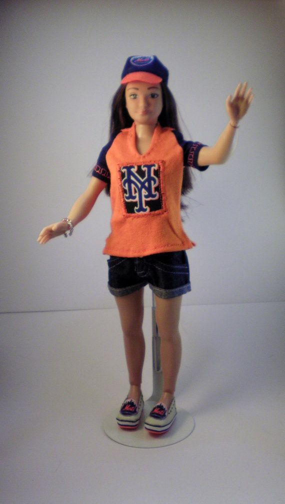 Lammily NY Mets fan uniform outfit with baseball cap and shoes  It is the subway series. Lammily has her NY Yankees outfit but need one for the…