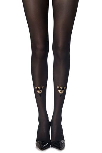 Collant Cleopatra. Stampa nero e oro su collant nero. Collant nero opaco-20 denari. Stampa nero e oro su due gambe. Questi collant possono essere indossati con la stampa sul davanti o dietro.