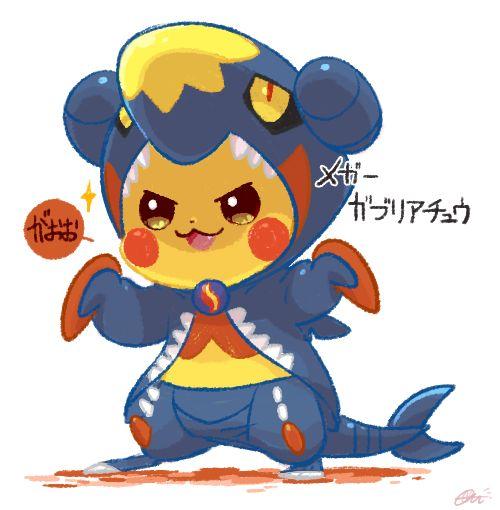 pikachu disfrasado de mega garchomp