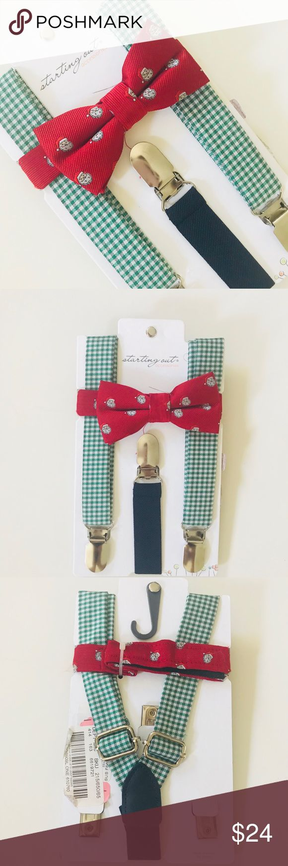 Baby Boy Santa Bow Tie Suspender Set Brand new with tags Baby Boy Santa Print Bow Tie and  Gingham Suspenders Set for your little man's First Christmas Photos , holiday dress-up events throughout the season!  From boutique brand, Starting Out.    Set is well made, includes:  🍃 bow tie with velcro neck strap to adjust 🍃 suspenders with adjustable straps 🍃 polyester 🍃 spot clean  I have 2 other sets listed with different bow tie prints in my baby closet,  if interested be sure to take a…