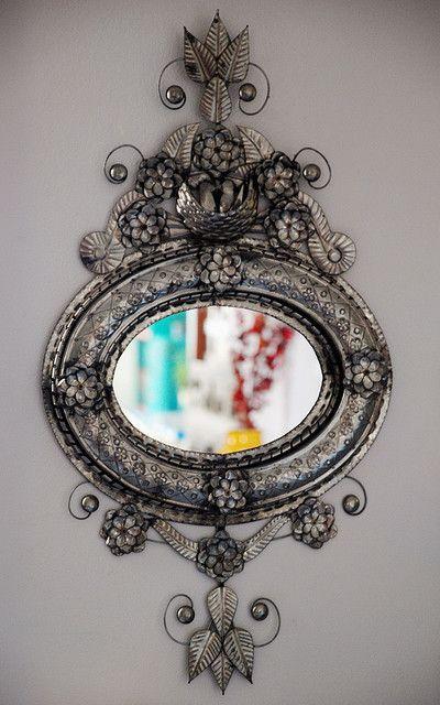 Gorgeous Mexican tin mirror