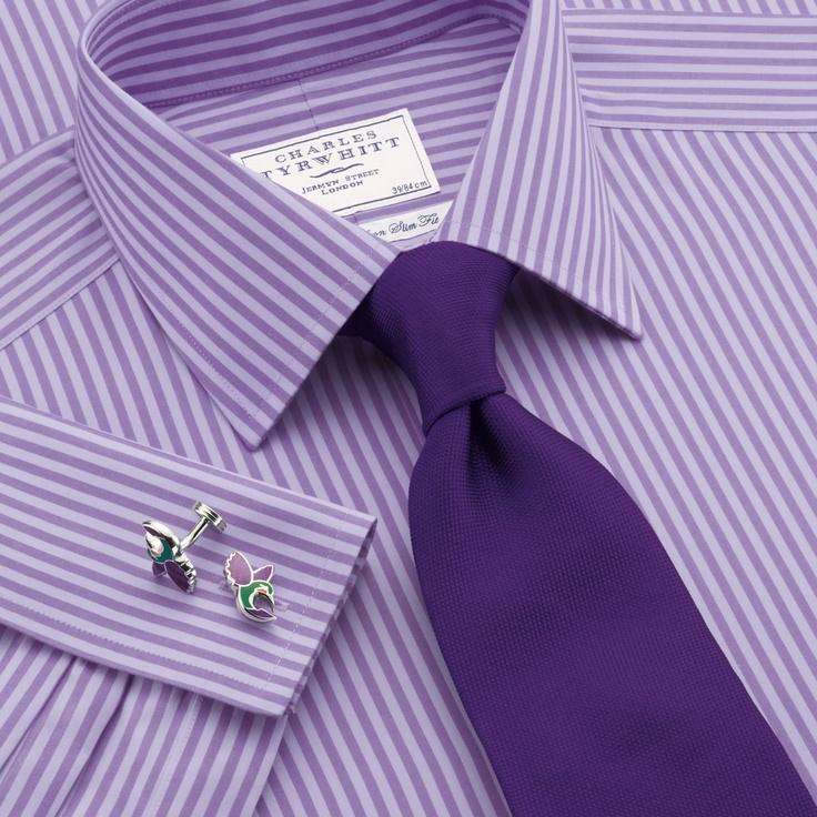 Lilac two colour bengal non-iron slim fit shirt | Slim fit formal shirts from Charles Tyrwhitt, Jermyn Street, London