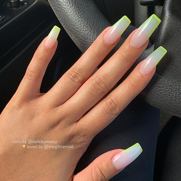 Theglitternail Get Inspired On Instagram Sheer Milky White With Neon Tips On Long Coffin Nai Coffin Nails Long Best Acrylic Nails Coffin Nails Designs