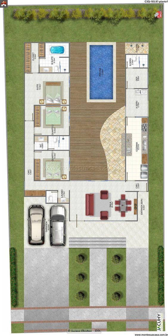 Planta de Casa - 3 Quartos - 165.97m² - Monte Sua Casa: