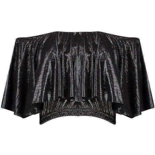 Boohoo Bella Metallic Cropped Bardot Top | Boohoo (6.810 HUF) ❤ liked on Polyvore featuring tops, cut-out crop tops, metallic top, flat top, metallic crop top and cropped tops
