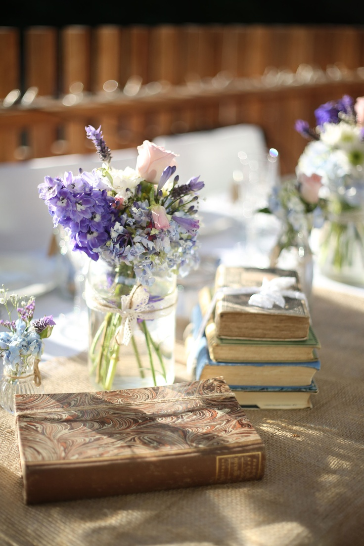 Agee jars, hessian and books.  A Vintage & Pretty centrepiece.