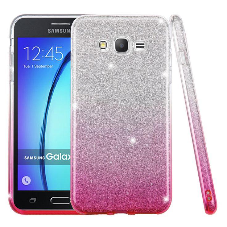 Samsung Galaxy On 5 / G550 / G500 Full Body Hybrid Glitter TPU Case Cover Gradient Pink
