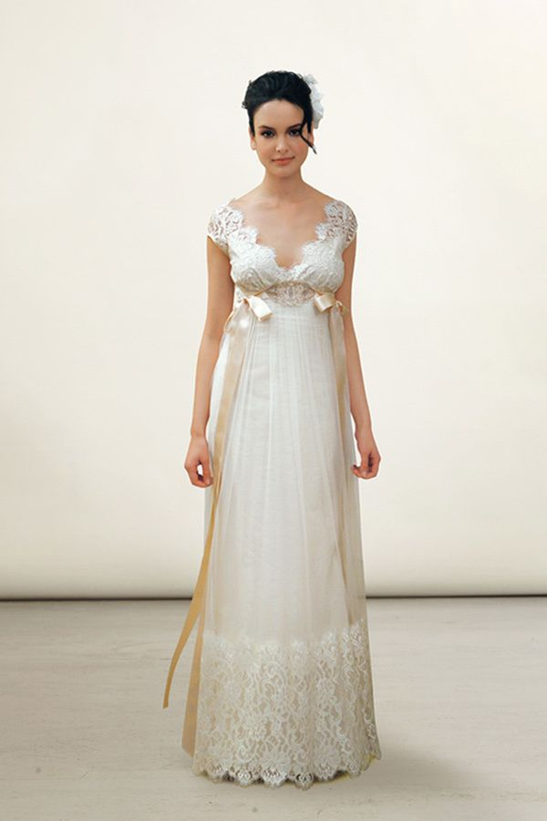 Edwardian silhouette. Love the scalloping around the neckline; not such a fan of the ribbons.