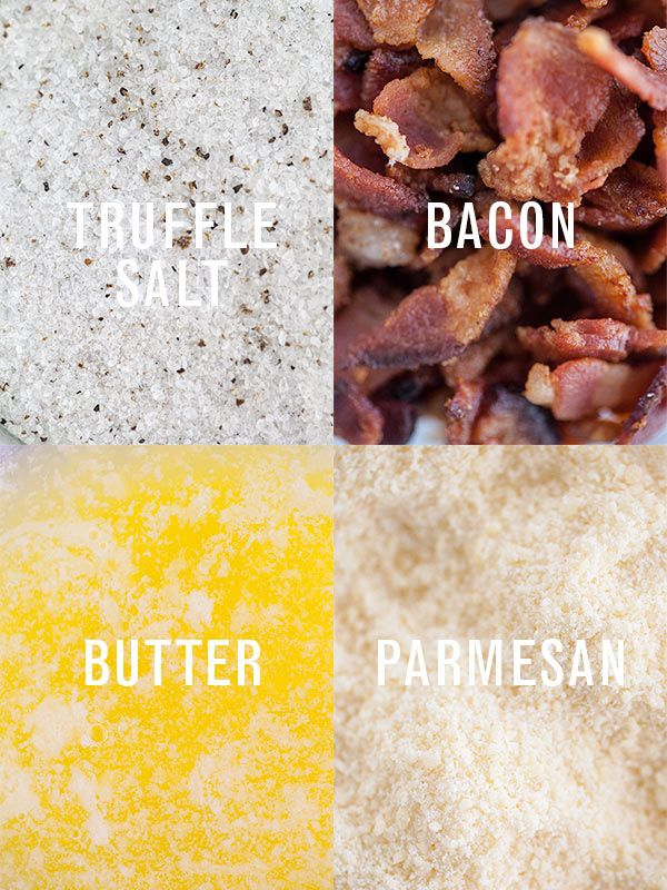 Ingredients for delicious Truffle Bacon Popcorn. Of course, Wisconsin Parmesan!