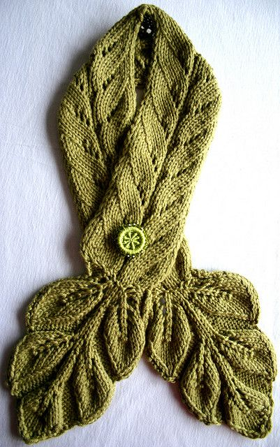 Wonderful scarf by KnitYoga - LEAFY NECKWARMER WITH SWAROVSKI DORSET BUTTON PIN via Flickr