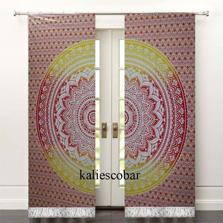 Yellow Ombre Mandala Door Curtain Tapestries Window Wall Decor Drape With Tassel #Unbranded #Traditional