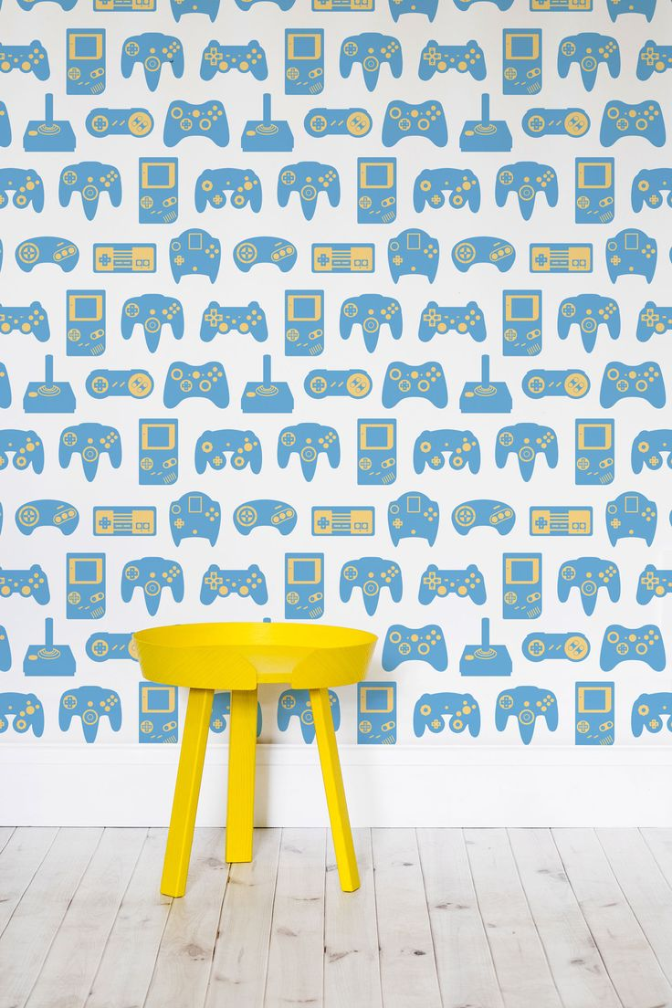 Are you an avid gamer? This retro gaming wallpaper combines artful illustrations of your favourite gamepads with a playful colour palette. Pair your furniture to match the yellow accents for a coordinated look.