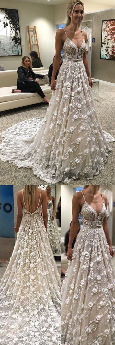 Stunning Spaghetti Straps Court Train Backless Wedding Dress wedding,wedding dress,wedding dresses,wedding gown,wedding gowns,wedding 2k17