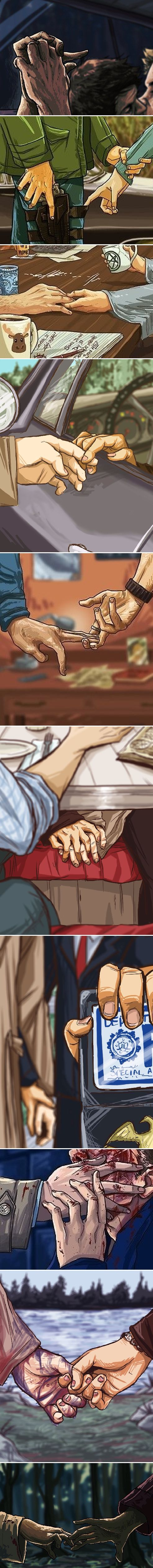Destiel + hands #spn More