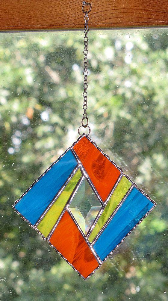 Stained Glass Suncatcher Elegant Geometric Design by GLASSbits