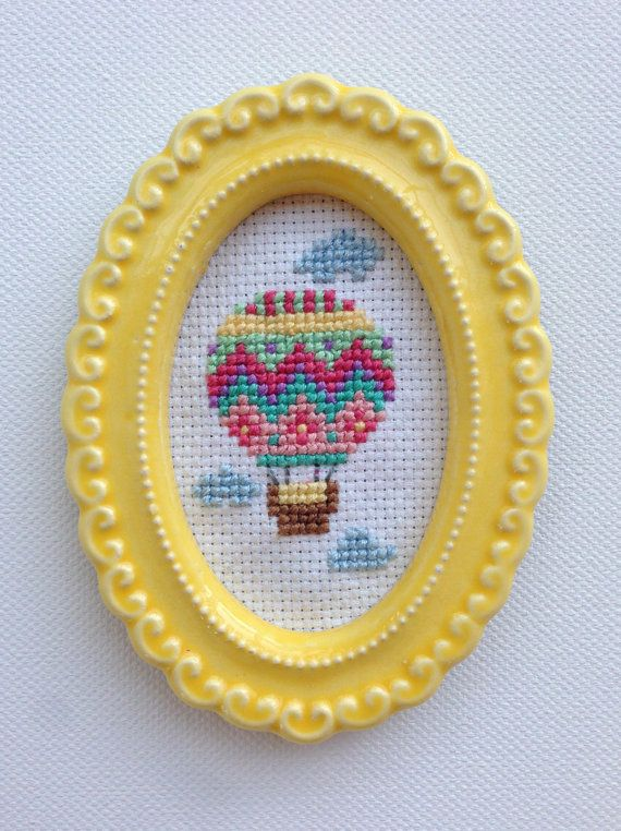 Colorful Ornate Hot Air Balloon Completed Cross Stitch - Small Ornate Yellow Frame on Etsy, $30.00 - more patterns to come @Simpleandsocial | www.SimpleandSocial.com |