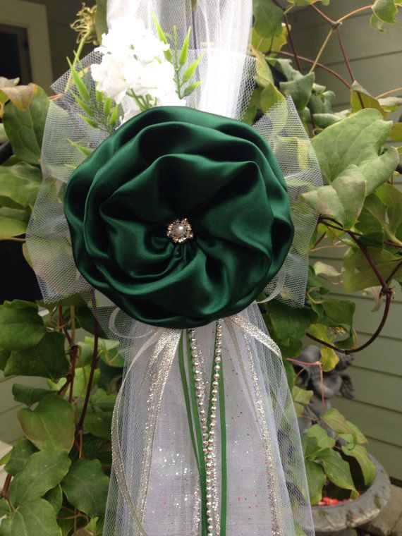 Forest Green Wedding decor Set of 6 Pew Bow Chair Bows Green