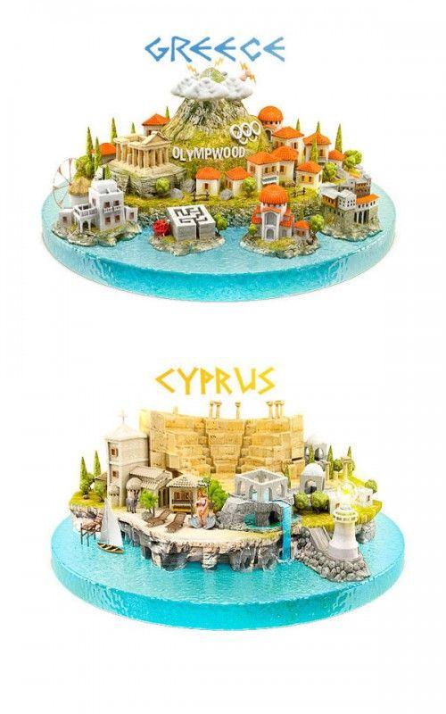 Greece vs Cyprus - 3D Illustration
