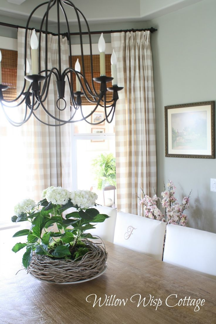 canadian cottage style buffalo check drapes love the casual look of the wood tones and checked drapes