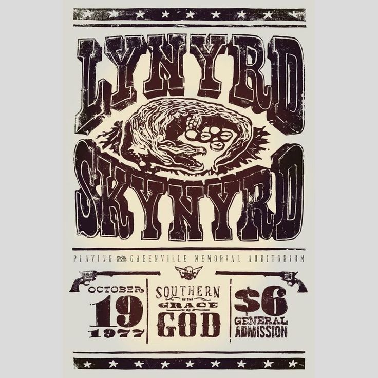 An event poster of the lynyrd skynyrd concert at