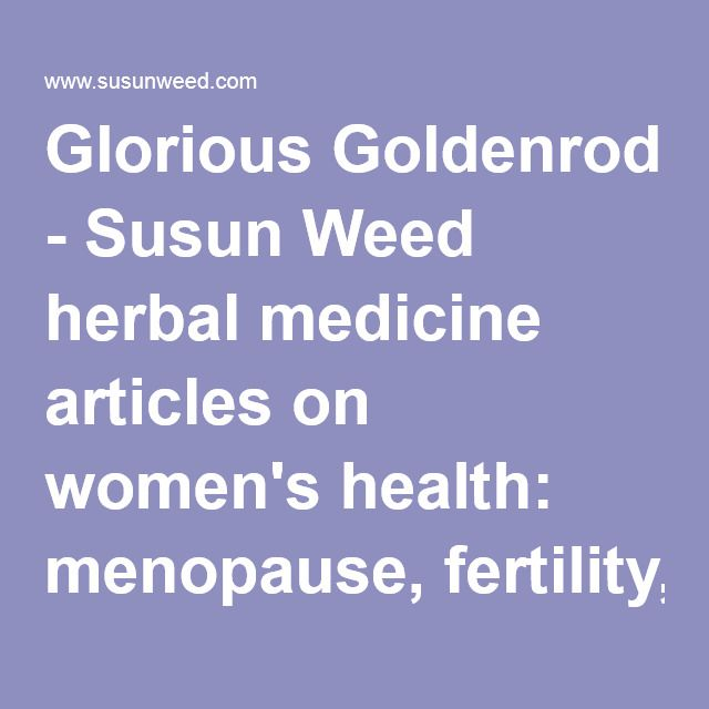Glorious Goldenrod - Susun Weed herbal medicine articles on women's health: menopause, fertility, breast cancer / breast health, and…