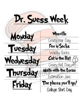 This+is+a+week+of+activities+for+Dr.+Seuss'+birthday.+