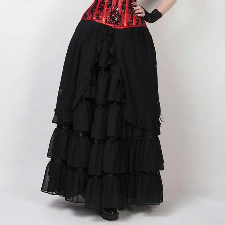 VG London Lange gelaagde Victoriaanse rok zwart - Gothic | Attitude Ho