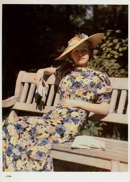 30s floral dress long day short puff sleeves hat Ewald Hoinkis, mode kleur 1936 | Flickr - Photo Sharing!