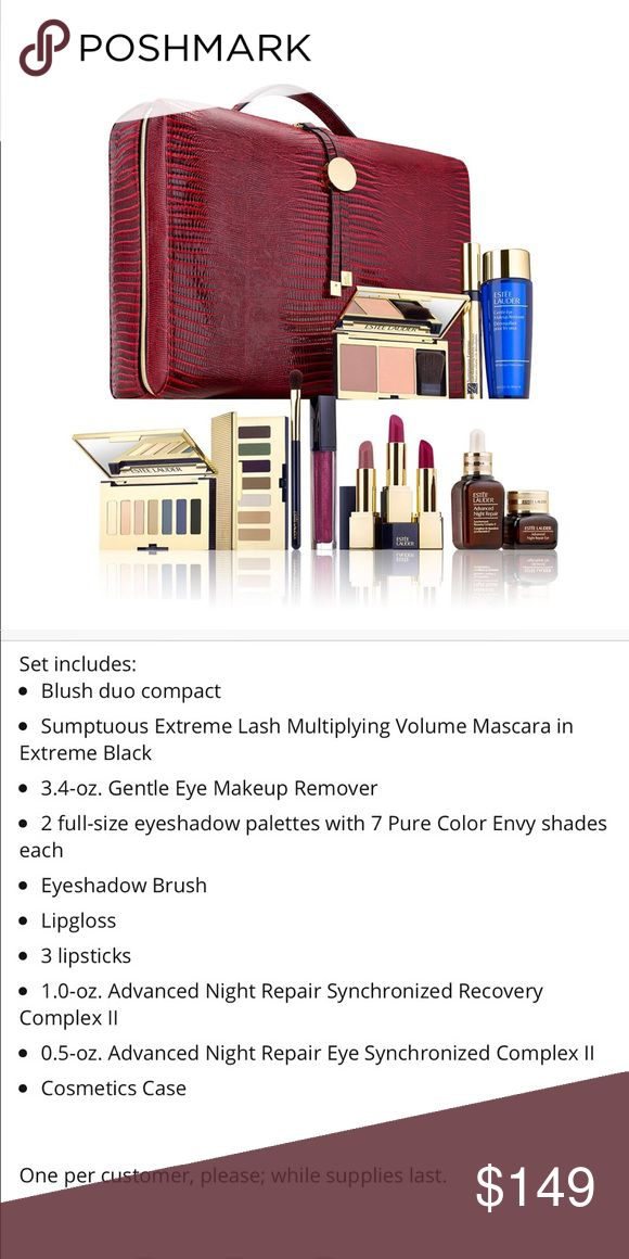 Estée Lauder 13-pc. Smoky Noir Holiday Gift Set Estée Lauder 13-pc. Smoky Noir Blockbuster holiday Gift Set  (Over A $455 Value).   SOLD OUT everywhere. LAST set!  Brand New in box. Never opened, swiped or used. Estee Lauder Makeup