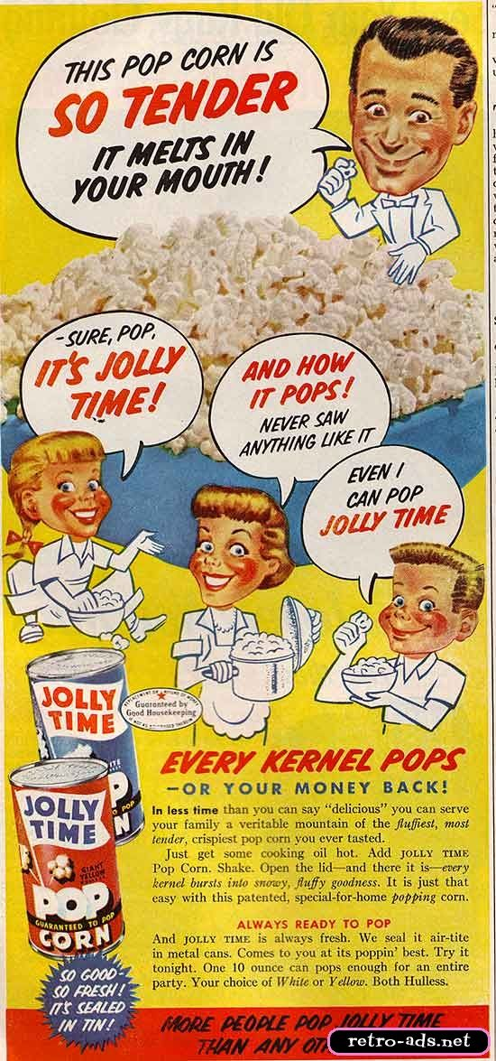 1955 ad for Jolly Time Popcorn...REMEMBER JOLLY TIME?
