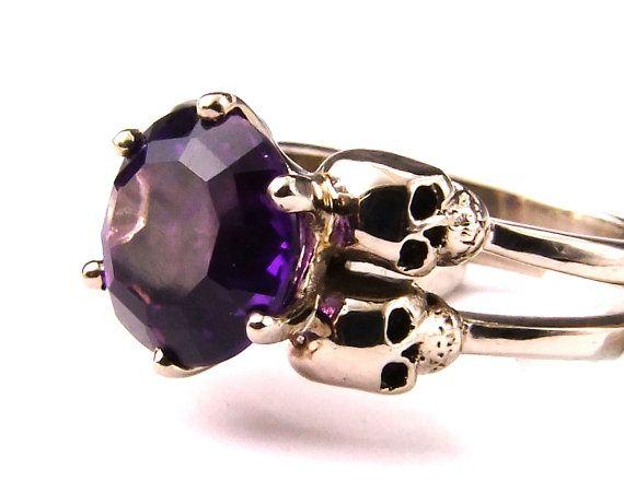 White Gold Skull Ring Goth Engagement Ring by KipkalinkaJewels