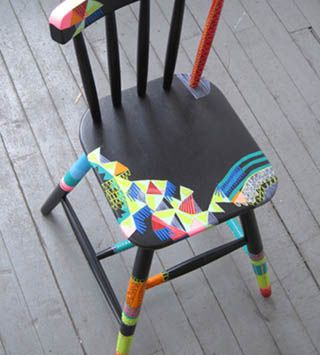 Great idea to get kids to eat at the dining room table: Go to a rummage shop and have everyone pick out a wood chair to paint and design themselves. Kids will be more excited to sit at the table in the chair that they painted themselves.