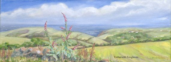 #Cornish #Landscape Print of Oil on Canvas - A4 - Trebarwith Foxgloves, Cornwall, 5% of profits to Cornwall Air Ambulance Trust