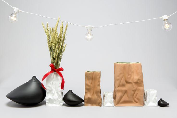 Tapio Wirkkalas Paperbag vases and Pollo vases.