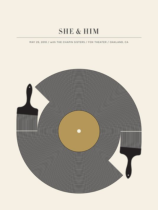 She and Him by Jason Munn. Gig posters.