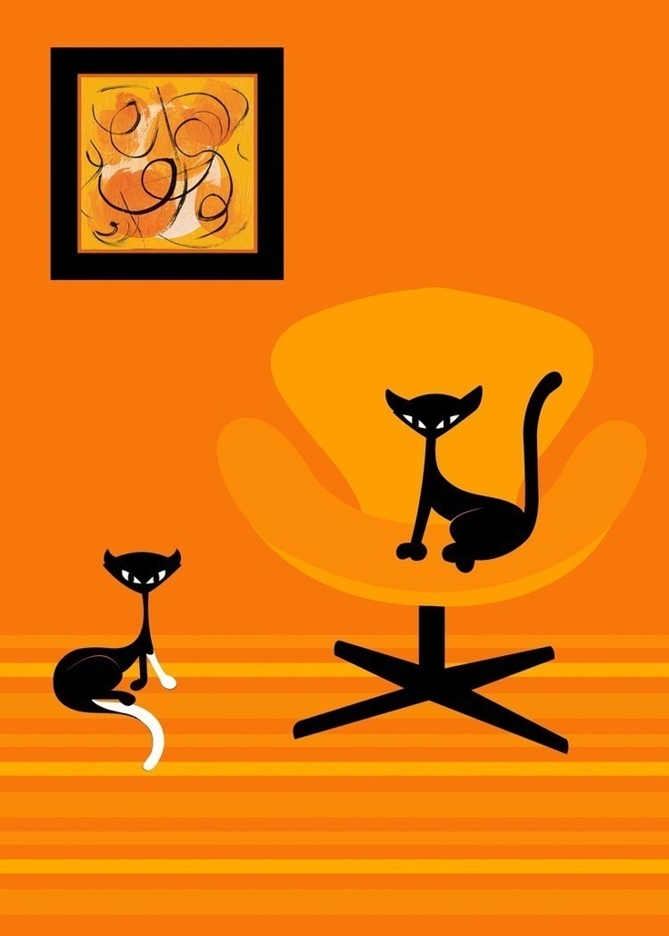 Littles - Two little black kittens in a modern space - by Kerry Beary.