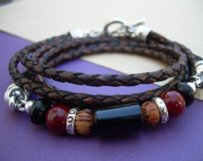 Triple envoltura piedras preciosas y pulsera de cuero, marrón antiguo trenzado, pulsera hombre, pulsera para mujer, joyería del Mens, joyas para mujer