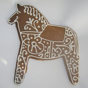 Pepparkakor hästen, Swedish iced spice cookie horse. Every year at Christmas, I make pepparkakor.