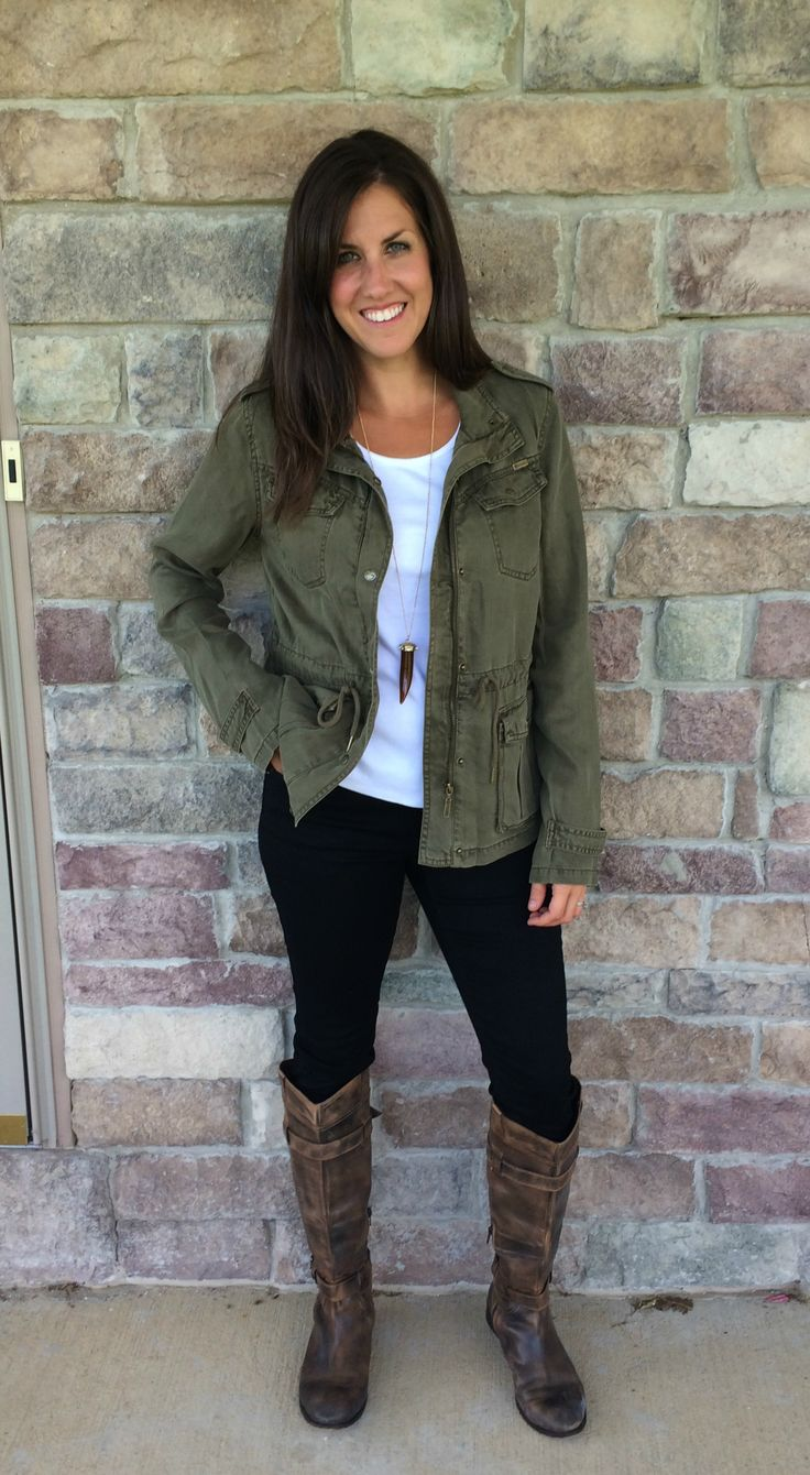 Military Olive colored Jacket, skinny jeans, riding boots outfit