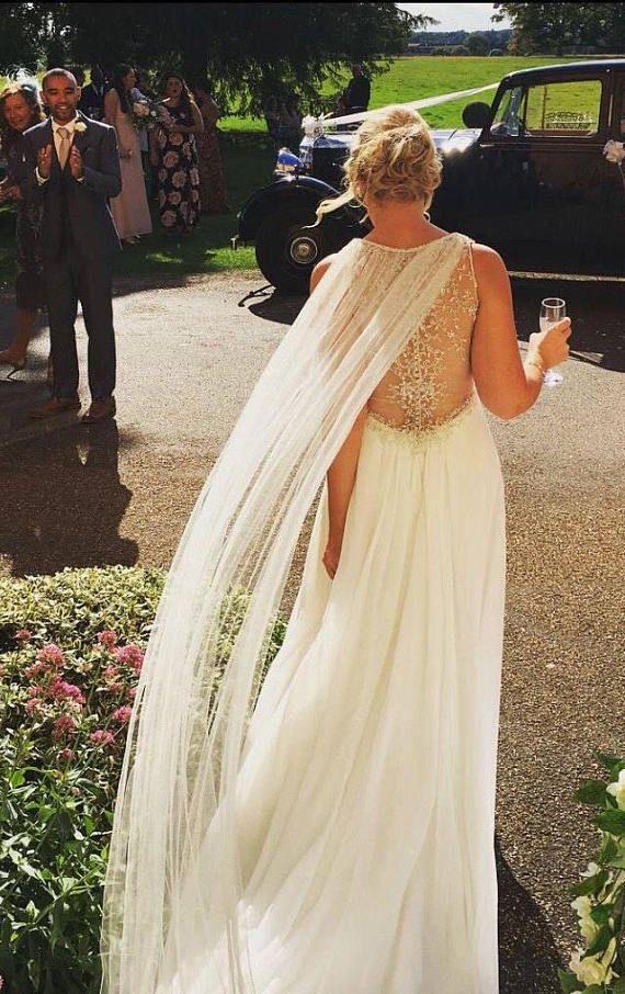 Tulle Cape Veil - Bridal Shoulder Veil -  Wedding Cape -  Bridal Cape - Winter Cape - Bridal Capelet