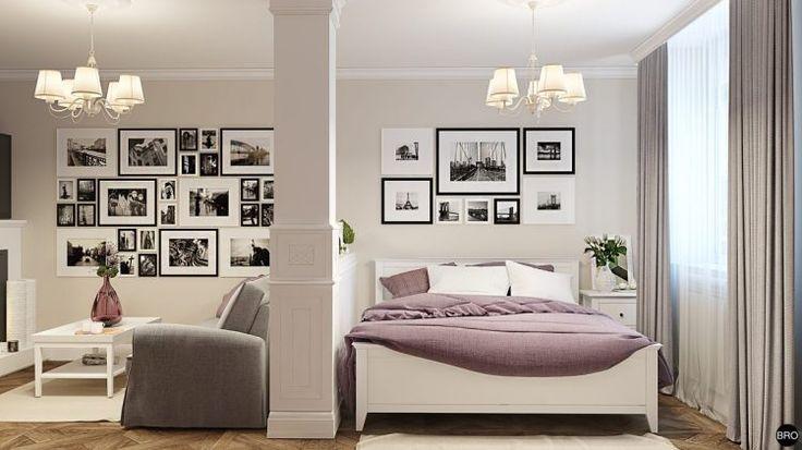 Kis lakás provence-i stílusban, külön hálószoba nélkül, kényelmes konyhával
