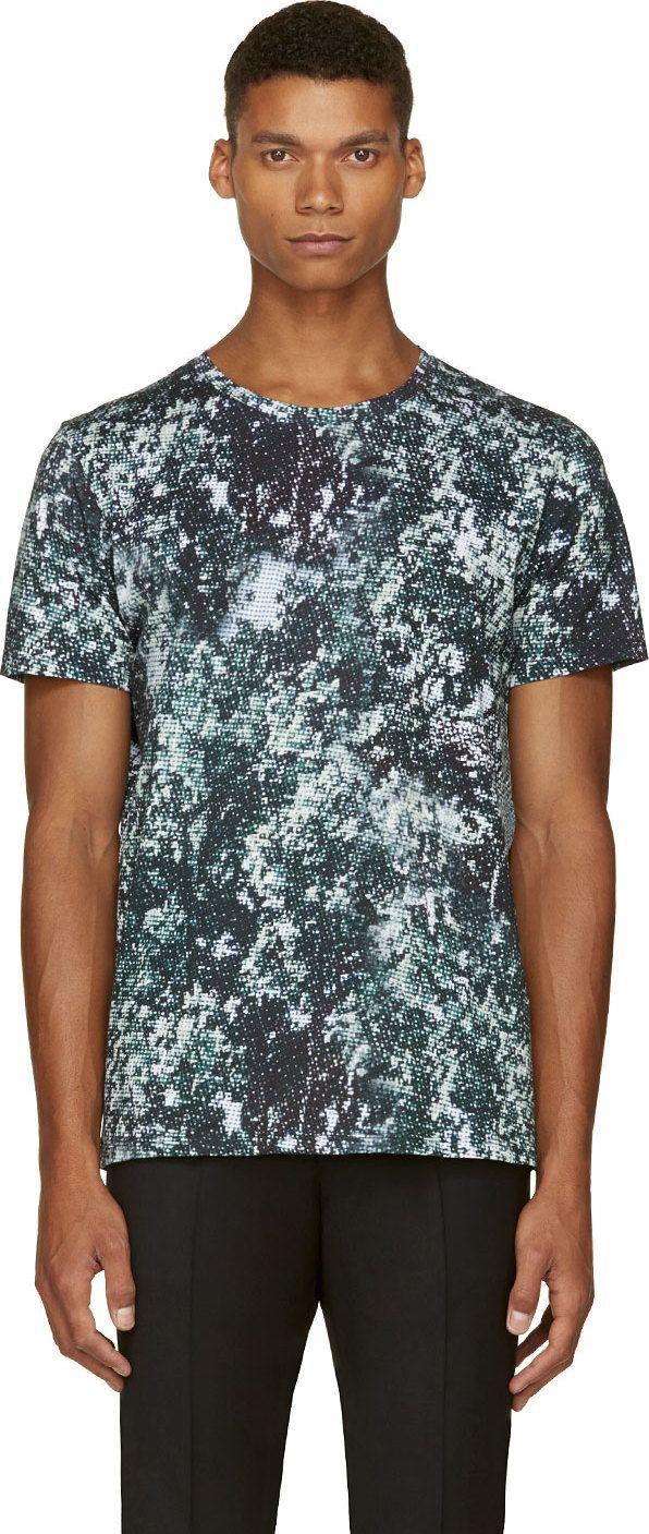 A.P.C.: Green Pixelated Print T-Shirt | SSENSE