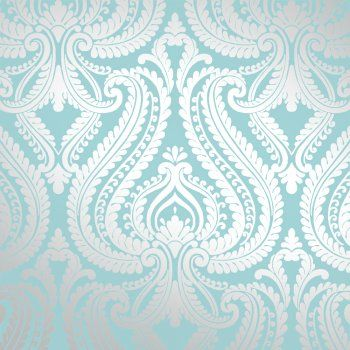 I Love Wallpaper Shimmer Damask Metallic Feature Wallpaper Teal Silver | eBay