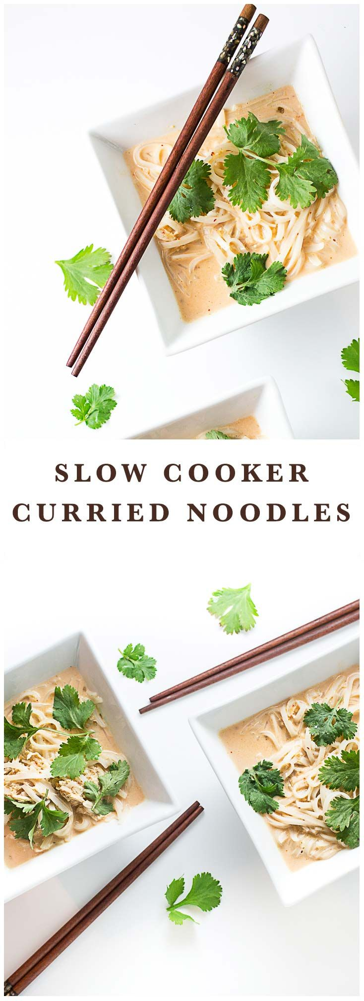 Slow Cooker Thai Curried Noodles - all made so easy in the slow cooker!  #slowcooker #noodles #thai