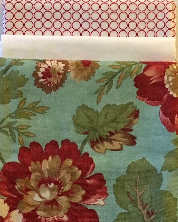 PRE-CUT Table Runner Kit - Moda Red Teal Floral -100% Cotton - DIY Quilt    eBay